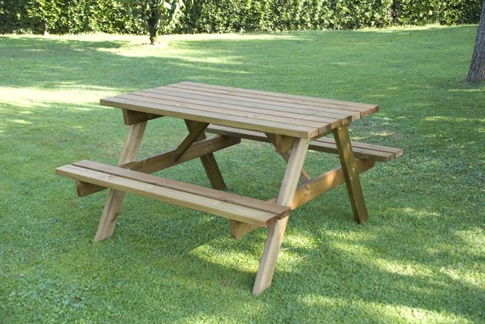 Tavolo da giardino in legno 4 posti con panche om legno - Ikea panche da giardino ...